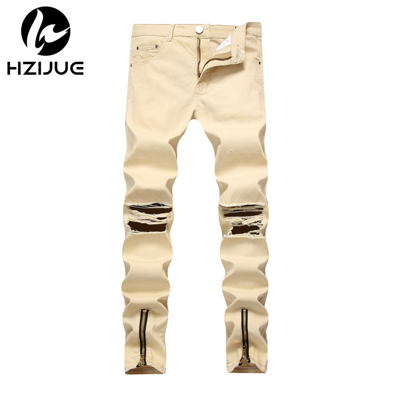 HZIJUE 2018 New Arrival Fashion Brand hiphop Mens Jeans Washed male Casual Pants zipper Design Jeans streetwear Men skinny jeans ...