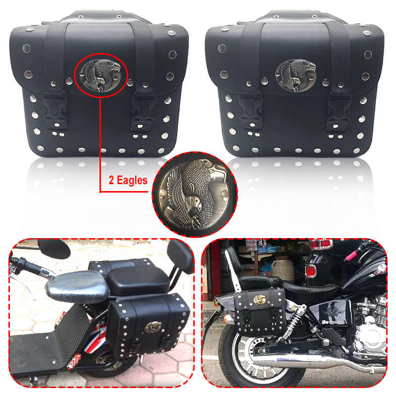 Motorcycle Saddle Bag PU Leather Tool Roll Handlebar Bag Waterproof Luggage Travel Sport Touring Saddlebags for Harley Davidson