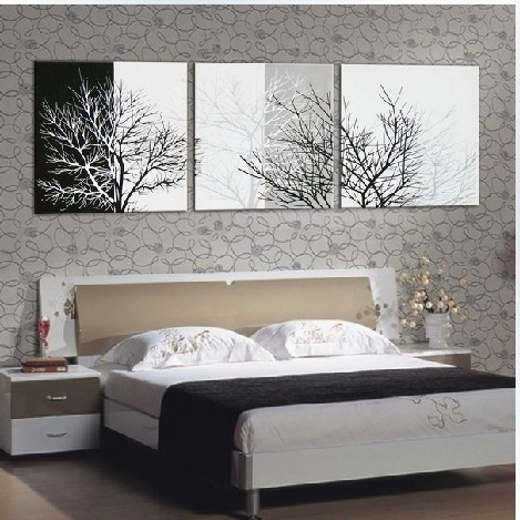 3172 Handmade 3 Piece Black White Contemporary Abstract Oil Painting On Canvas Wall Art Tree Branches
