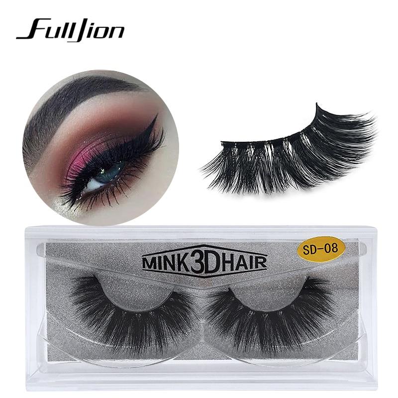 Fulljion Mink Fake Eyelashes 3D Soft Faux False Hair Lashes  Natural Thick Individual Eyelash Extensions Tools With Packing