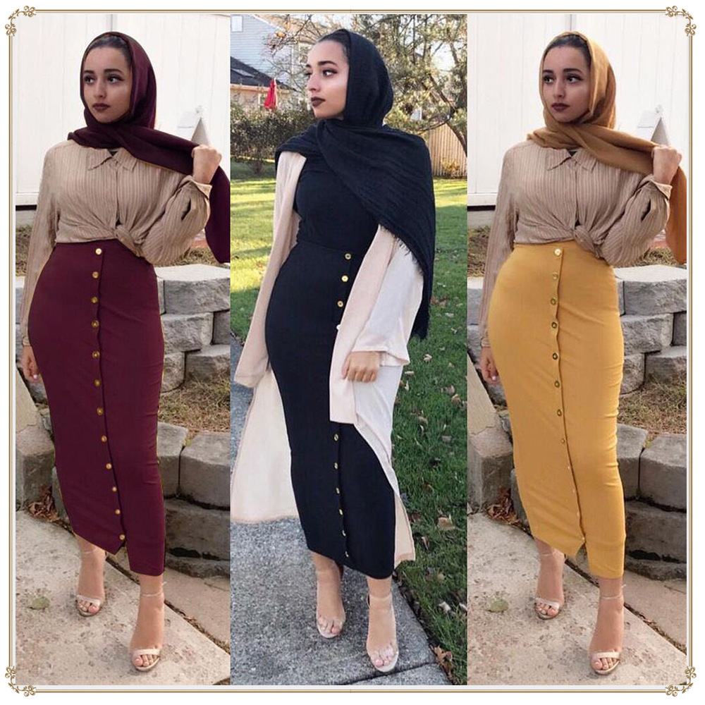 2019 new fashion style muslim women plus size long skirts XS 2XL