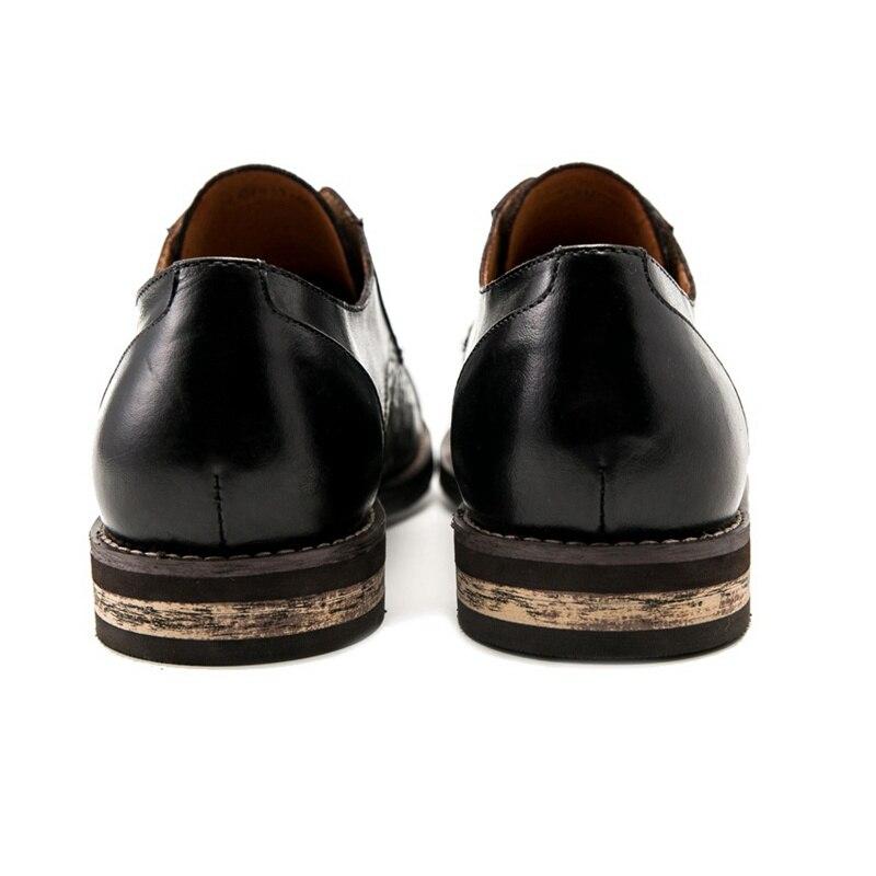 Formal Sapatos Do Homem Preto Pé Couro Esculpidas Dos Brogue Calçados Britânico marrom Vintage Derby Redondo Ss97 Handmade Homens De Dedo Semi Designer Genuíno Vestido Eqvn0Bzx