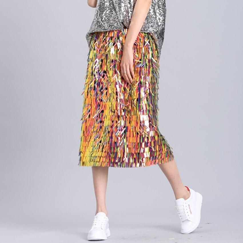 2018 Mulheres Da Moda Saias Verão Saias Heavywork Lantejoulas Sacos Quadris Corpo Nu Longo Meia Noite Brilhante Brilho Meia Saia