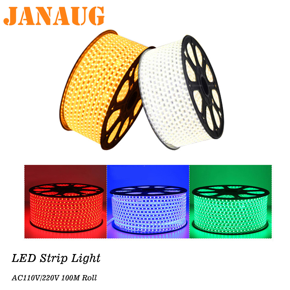 LED Strip 100M Roll AC110V AC220V 5050 RGB Outdoor LED Rope Light 10M, 20M, 30M, 50M Green, Blue, Red, Warm White Ledstrip Light