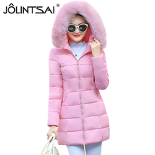 JOLINTSAI 2017 New Arrival Women Parkas Medium Long Women's Winter Jacket Female Hooded Warm Coat Womens Winter Jackets