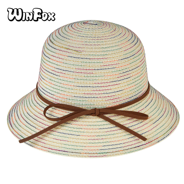 2e2ed7c6b3c WINFOX 2018 New Fashion Kids Child Summer White Navy Rainbow Multicolor Striped  Sun Bucket Hats With
