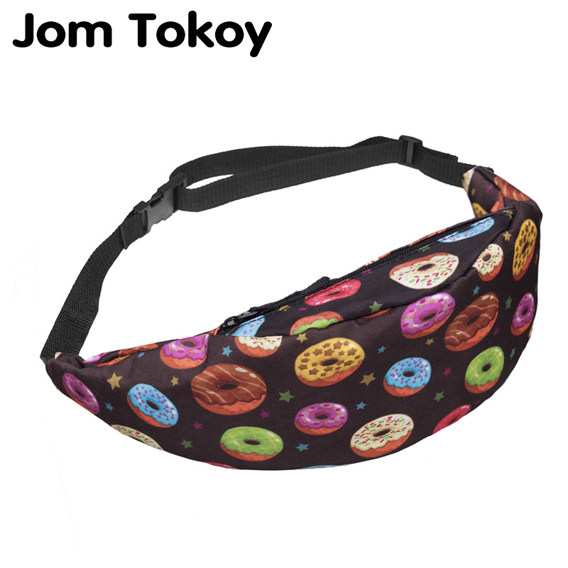 Jom Tokoy New 3D Colorful Waist Pack For Men Fanny Pack Style Bum Bag Donuts Women Money Belt Travelling Waist Bag