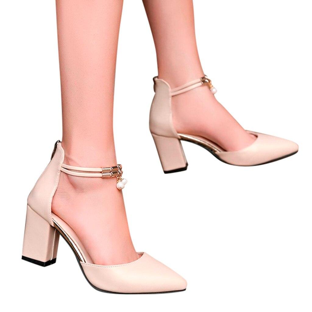 Primavera Boca Alto Mujer Fiesta Tacón Tacones Las Oro Punta blanco Sexy Zapatos Baja De Moda Puntiaguda 2019 Mujeres Bombas 7Cq0p0