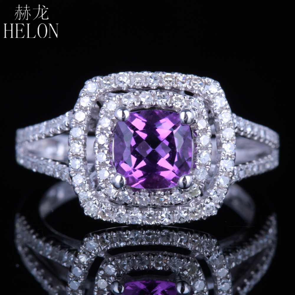 HELON Flawless 6.5mm Cushion 0.89ct Natural Amethyst 0.6ct Diamonds Women Jewelry Solid 14K White Gold Wedding Engagement RingHELON Flawless 6.5mm Cushion 0.89ct Natural Amethyst 0.6ct Diamonds Women Jewelry Solid 14K White Gold Wedding Engagement Ring