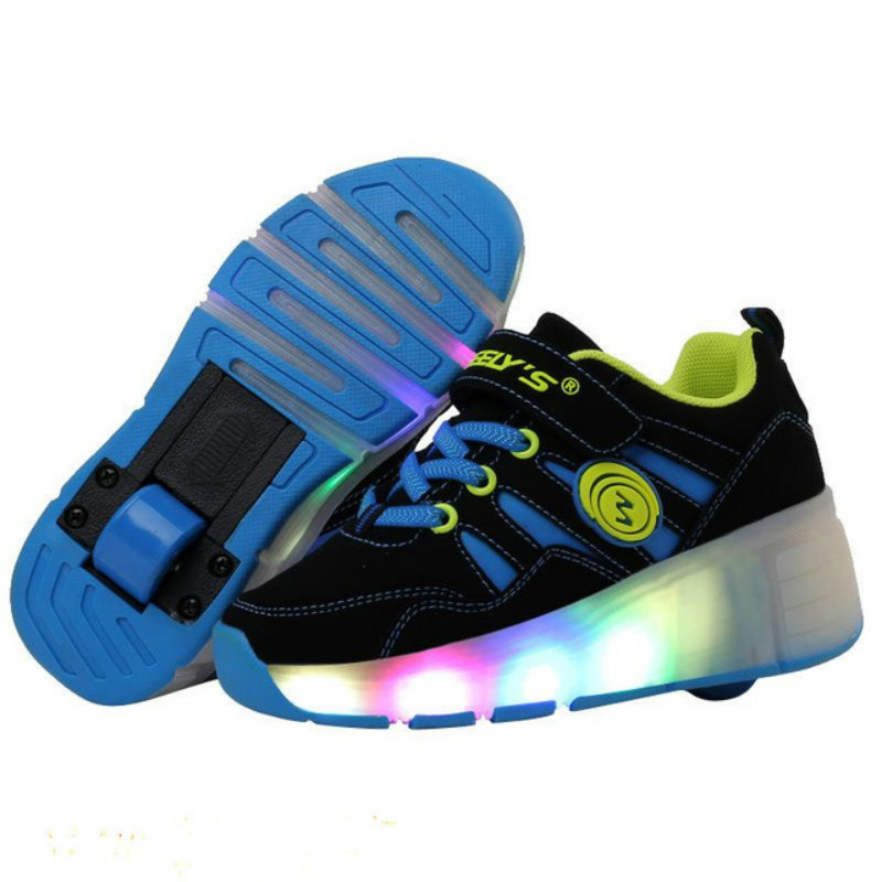Kids Sneakers with Wheels Roller Skate Shoes 2018 New Kids Glowing Shoes Led Light Up Shoes for Boys Girls Tenis Infantil Heelys joyyou brand usb charging teenage led kids shoes boys girls luminous sneakers with light up led tenis infantil school footwear