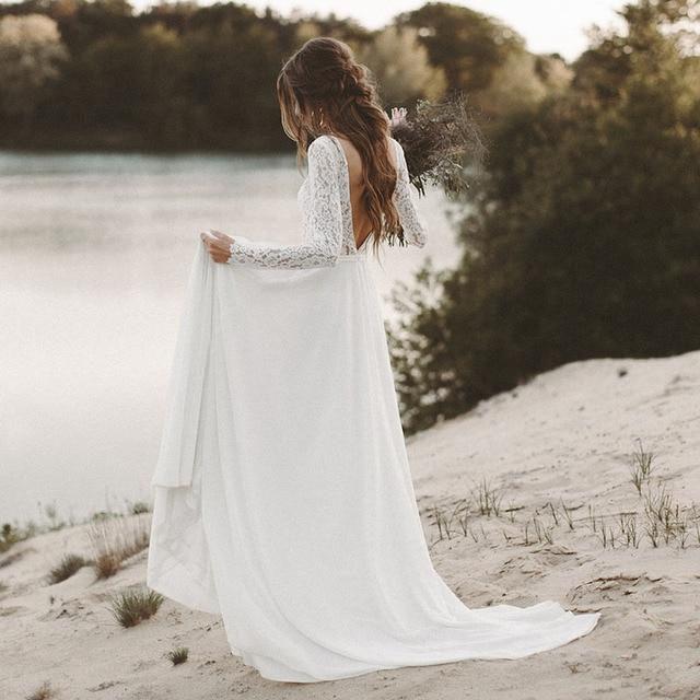73717e164c3 Beach Wedding Dress Long Sleeve Boho V Neck Open Back bridal dresses 2018  Chiffon Princess Lace Chiffon Wedding Gown novia