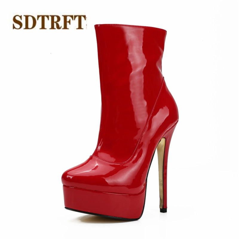 SDTRFT sexy Cosplay Party shoe woman 16cm Thin High-Heeled martin Ankle boots platform Ladies wedding pumps Plus:40-46 47 48 sdtrft sexy cosplay party shoe woman 12cm thin high heeled pointed toe ankle boots lace up ladies wedding pumps plus 40 46 47 48