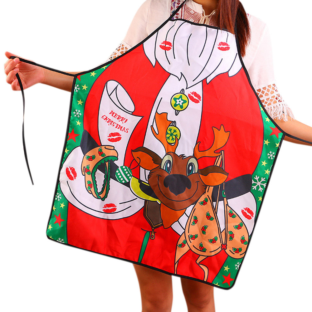 Christmas Lovely Stylish Novelty Cooking Kitchen Apron Funny BBQ Funny Sexy Party Apron Gift avental de cozinha Quicksand A80