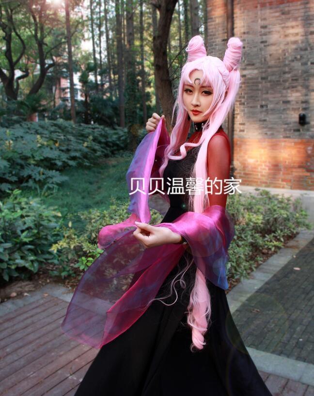 Sailor Moon Princess Small Lady Chibi Usa Serenity Tsukino Usagi Black Cosplay Costume Dress With Cape