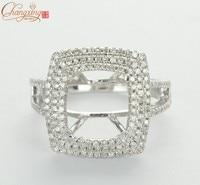 8x10mm Emerald Cut SOLID 14k WHITE GOLD NATURAL DIAMOND SEMI MOUNT RING Settings
