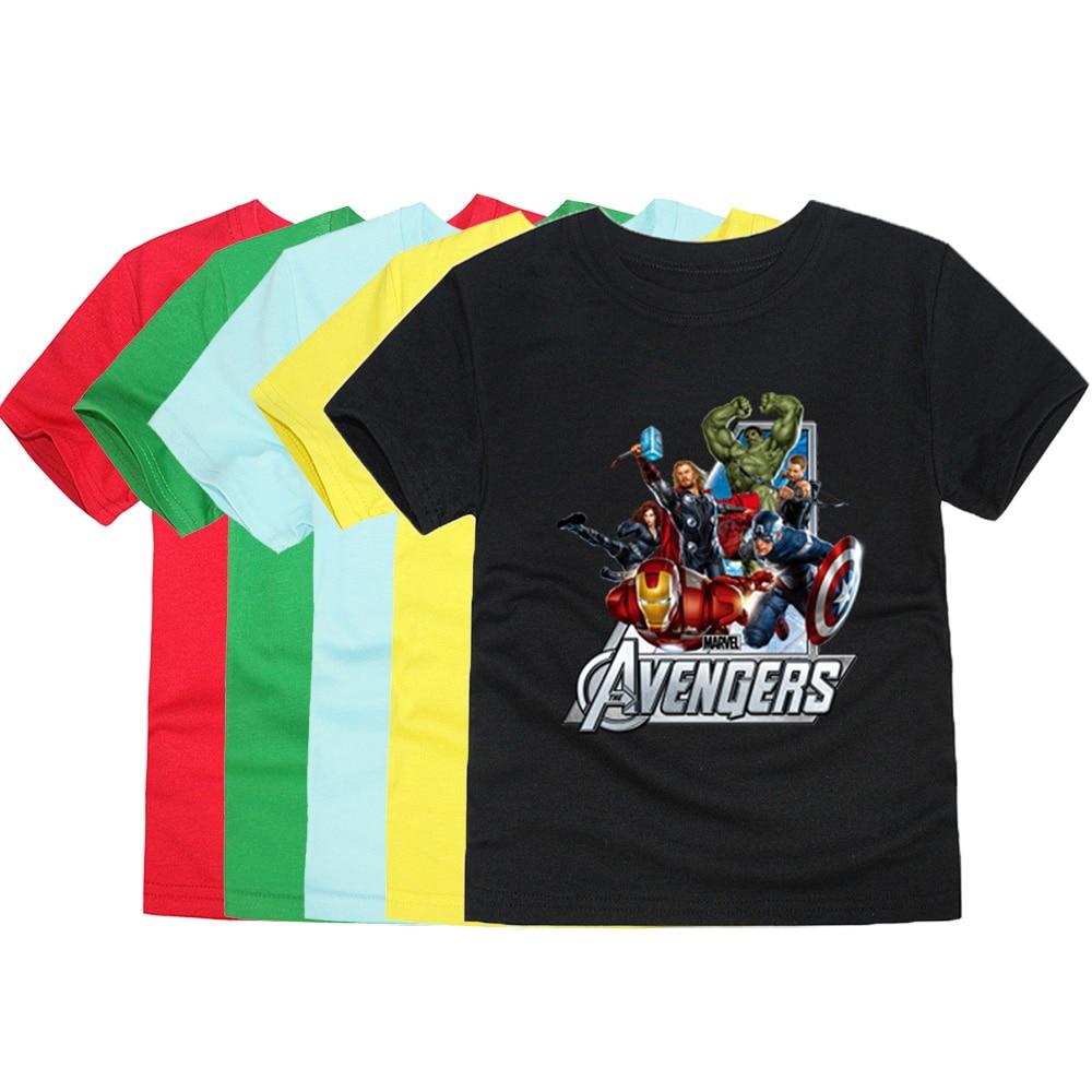 Cartoon T-Shirts Avengers Pokemon Girls Boys Children Summer 1-14Y