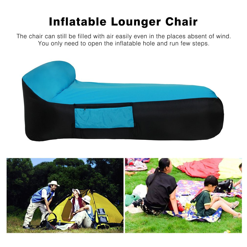 Inflatable Air Sleeping Bed Portable Camping Air Sofa with Carry Bag Fast Inflate Chair Lazy Beach Bed for Lounger Dropshipping norent brand waterproof inflatable mattress camping beach picnic air sofa outdoor swimming pool lazy bed folding portable chair