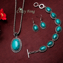 Newest Gift For Women Ancient Silver Plated Jewelry Necklace Earrings Fashion Turquoise Set Charm Bracelets
