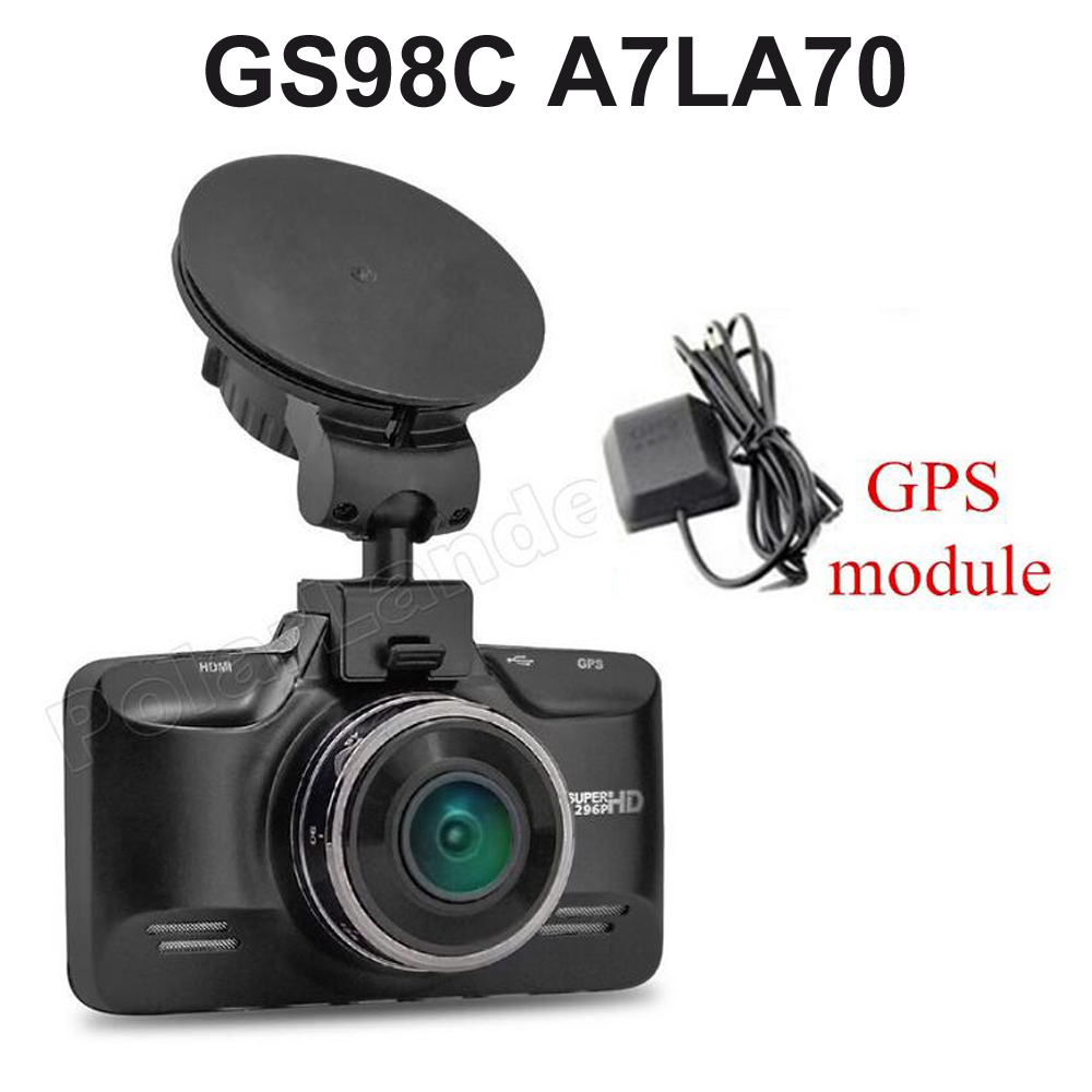 GS98C A7LA70 Car Dash Camera G-sensor with GPS module 2.7 inch LCD Video recorder HDR H.264 car DVR 170 degree 30fps