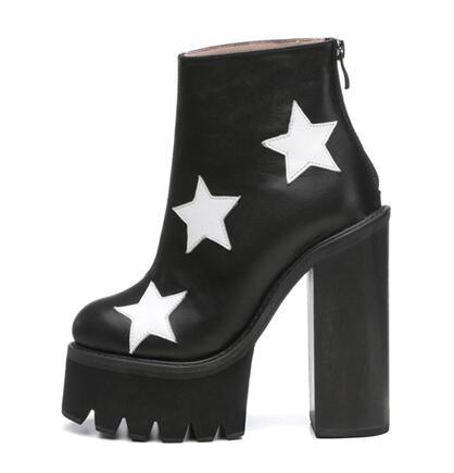 Пояса из натуральной кожи звезды на очень высоком каблуке ботинки на платформе женские панк кожа Коренастый Высокий каблук ботильоны Больш