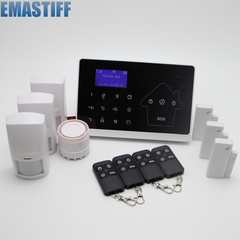 IOS Android APP control Touch Screen Keypad+LCD display Quad4 Band Wireless Zone GSM PSTN Home Secure Voice Burglar Alarm