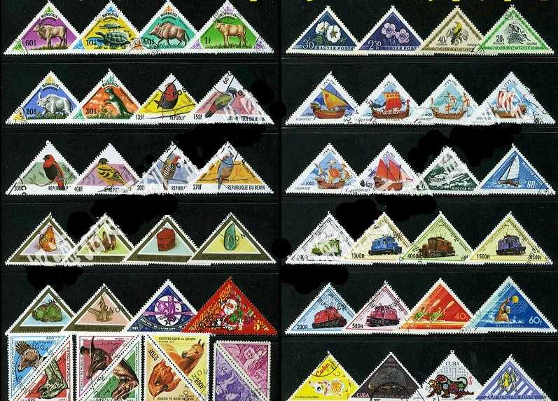 50Pcs/Lot Tri-angle Shape All Different From Many Countries NO Repeat Unused Postage Stamps for Collecting
