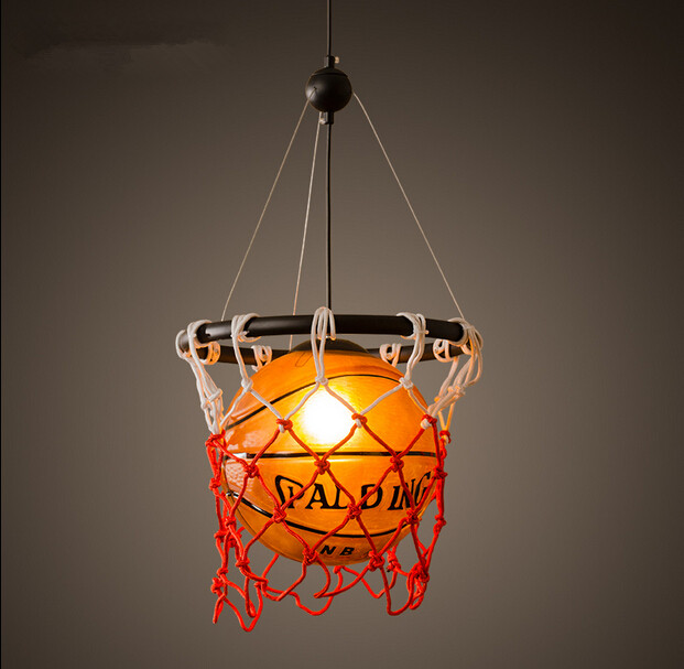 Creative Acrylic Basketball Vintage Loft Pendant Lights Personality Hanging Lamp Fixtures For Home Lightings Lamparas Colgantes lustre lens led pendant lights loft vintage industrial pendant lamp fixtures for home lightings hanging lamp lamparas colgantes