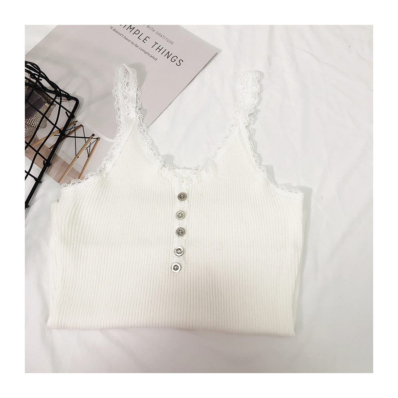 Camis Top summer lace stitching bottom strap camisole female retro chic sexy Crop Top metal button sleeveless Tank Top Women (11)