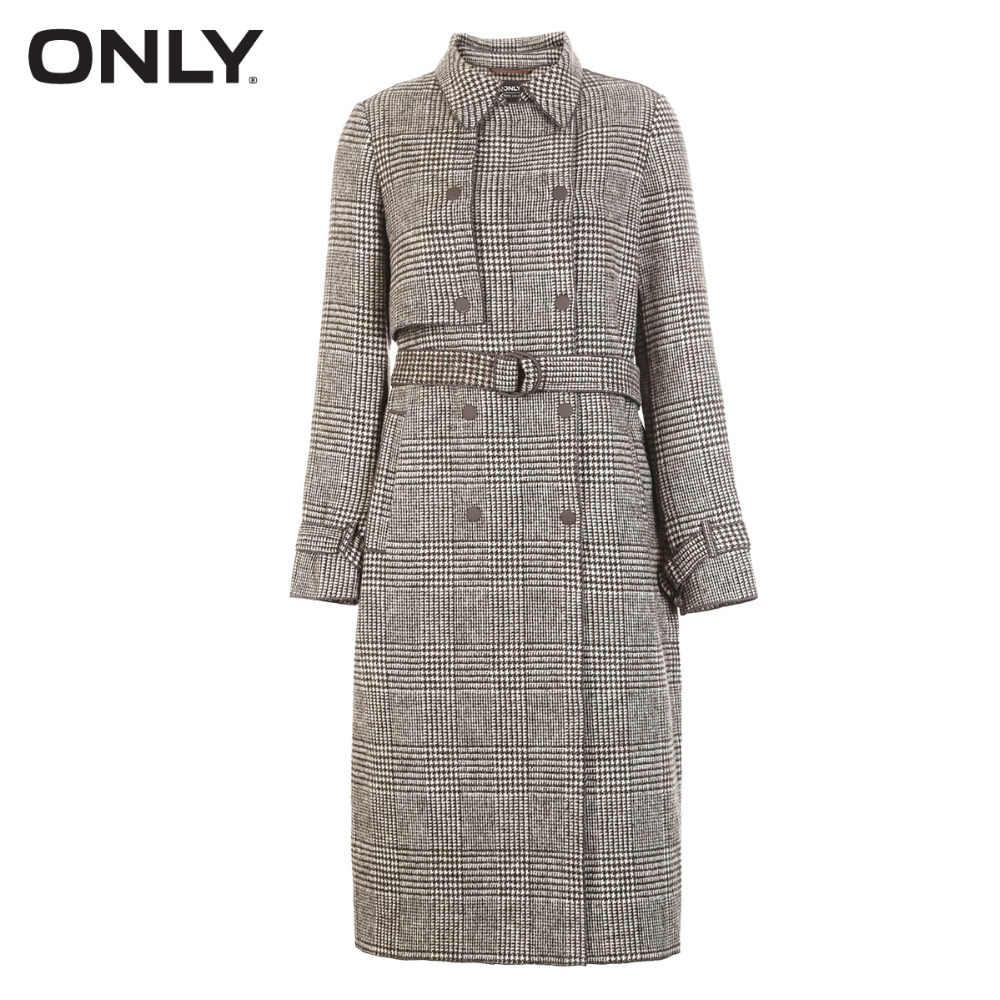 Только женское зимнее Новое клетчатое длинное шерстяное пальто ребристая окантовка дизайн застежка | 11836U505