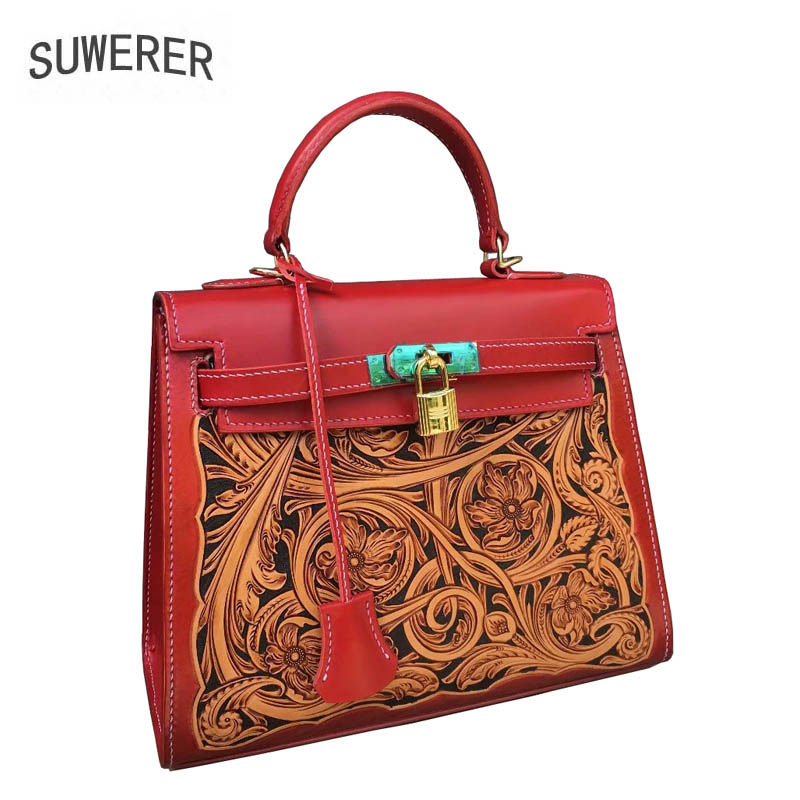 SUWERER  2019 new fashion leather ladies handbag National style retro handmade leather carving brand bag female
