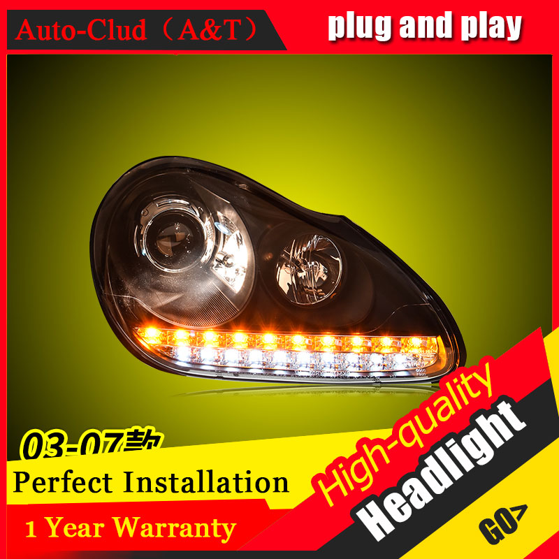 Auto Clud Car Styling For Porsche Cayenne headlights For Cayenne head lamp led DRL front Bi-Xenon Lens Double Beam HID KIT auto part style led head lamp for porsche 997 series led headlights for 997 drl h7 hid bi xenon lens angel eye low beam