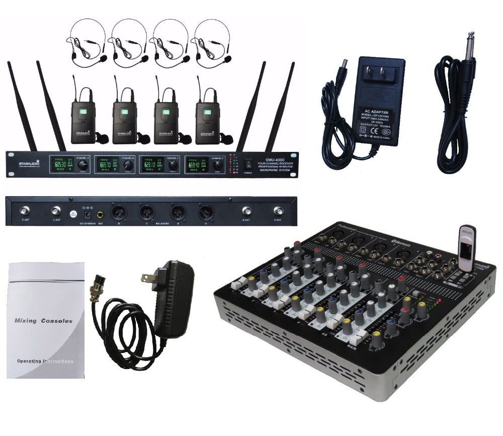 STARAUDIO SMX-6000B Pro PA DJ 6 Channel Stage Karaoke BT USB Mixer Mixing Console with  4CH UHF Headset Microphone
