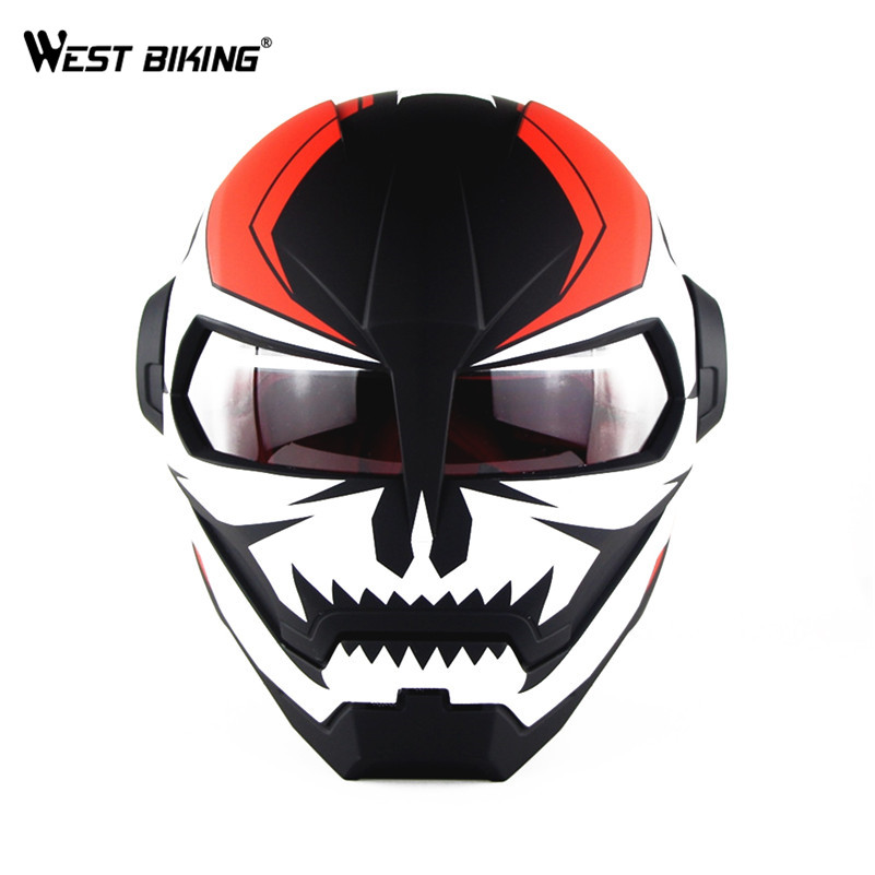 WEST BIKING Bicycle Full-face Helmet Cool Motorcycle Helmet Adjustable Size Retro Style Riding Cycling Personalized Helmet simple style vintage full face helmet custom made motorcycle helmet retro motor helmet