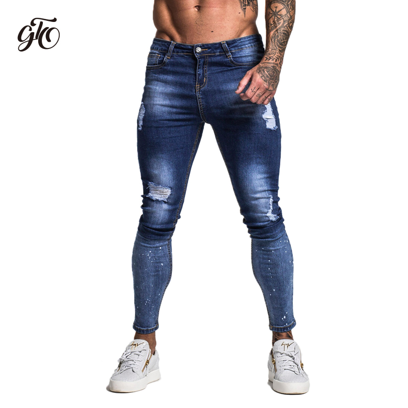 748d14c715 Gingtto Dark Blue Ripped Jeans For Men Hip Hop Streetwear Designer Super  Skinny Stretch For Men with Brush Print jeans zm28-in Jeans from Men's  Clothing on ...