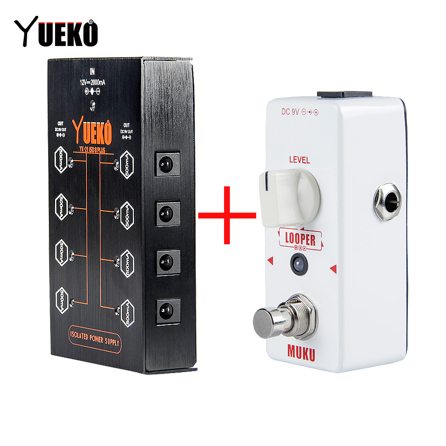 YUEKO Offer Set Suit High Quality Guitar Pedal Power Supply ISO8 PLUS And MUKU Looper Guitar Pedal Guitar Accessories Parts hand made loop electric guitar effect pedal looper true bypass 3 looper switcher guitar pedal hr 1