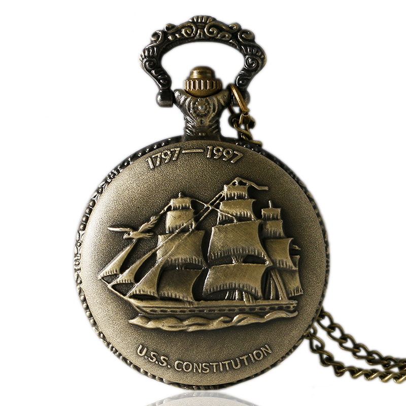 Bronze Mini Small Quartz Pocket Watch Sailing Canvas Boat Ship Necklace Clock Pendant Watches Chain Women Men Girlfriend Gift