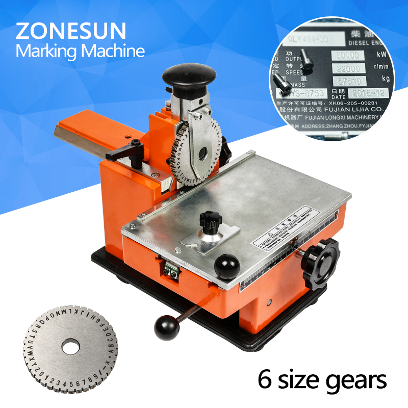 ZONESUN Embossing Machine Deboss Metal Nameplate Label Engraving Marking Dog Tag Embosser Sheet Metal Embossing Stamping Machine