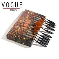 Oval Makeup Brush Set Professional 10pcs Rose Gold Makeup Brushes Tooth Brush Foundation Powder Face Beauty