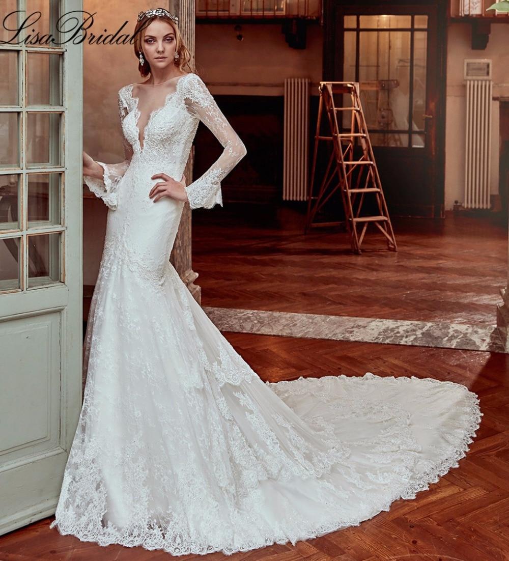 New amazing long sleeve wedding dress 2017 sheer boat neck for Boat neck long sleeve wedding dress