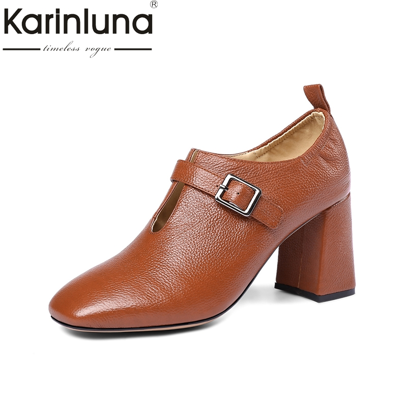 KarinLuna genuine leather 2018 large size 33-43 buckle strap square high Heels women pumps woman black Shoes woman цена