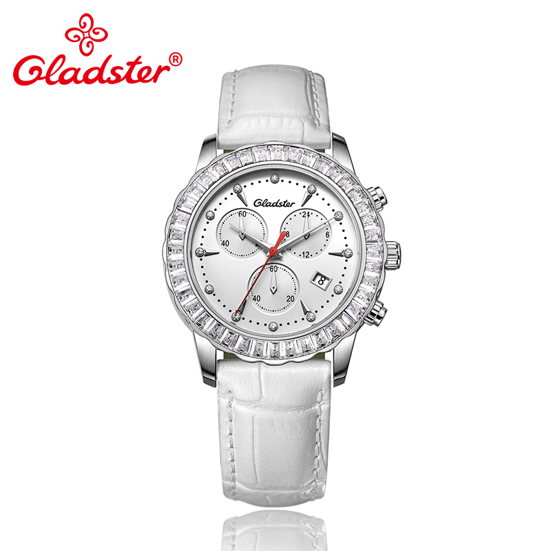 Gladster Japanese Miyota Movement Sapphire Crystal Female Wristwatch Luxury Chronograph Quartz Lady Clock Rhinestone Women Watch