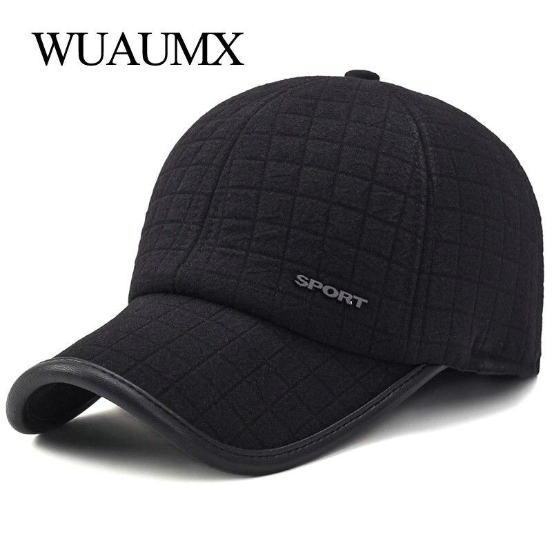 Wuaumx invierno gruesa gorra de béisbol para los hombres con orejeras mantener cálido algodón Snapback Cap, gorras para hombre beisbol, gorros hombre, gorras de beisbol, baseball cap men