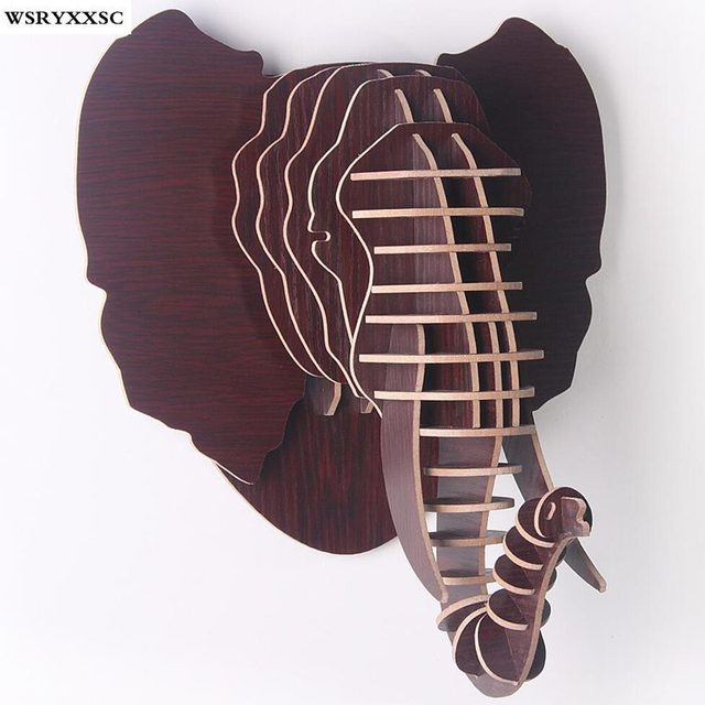Elephant Head Nordic Home Wood Crafts, Creative Home Decoration, Home Personalized Decorations
