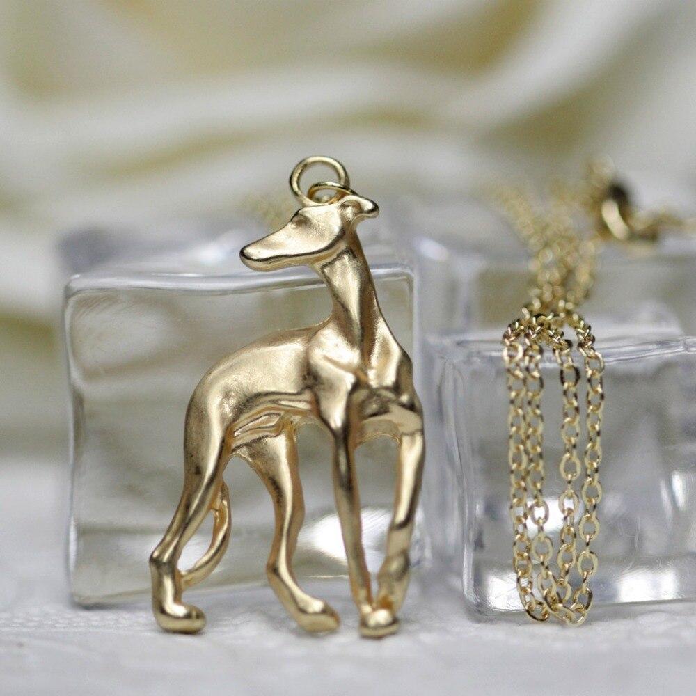 Greyhound ogrlica Galgo sprejeti reševalni whippet pes oblika zlato - Modni nakit - Fotografija 2