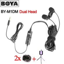 BOYA BY-M1DM двойной головкой Lavalier конденсаторный микрофон аудио запись для iPhone Android DSLR Canon Nikon видеокамера, Обновлено BY-M1