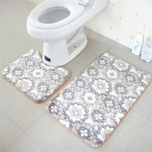 Basupply 2pcs/set Coral Fleece Memory Foam Mat Bathroom Rug Kitchen Toilet Non-slip Floor Carpet Mattress For Bathroom Decor(China)