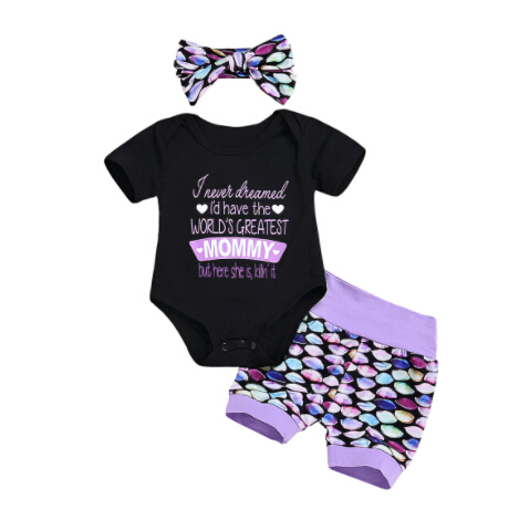 69355851f335 Newborn Baby Girls Cotton Tops Mermaid Mama Letter Bodysuit Shorts Pants  Outfits Clothes Summer Size 0-24M