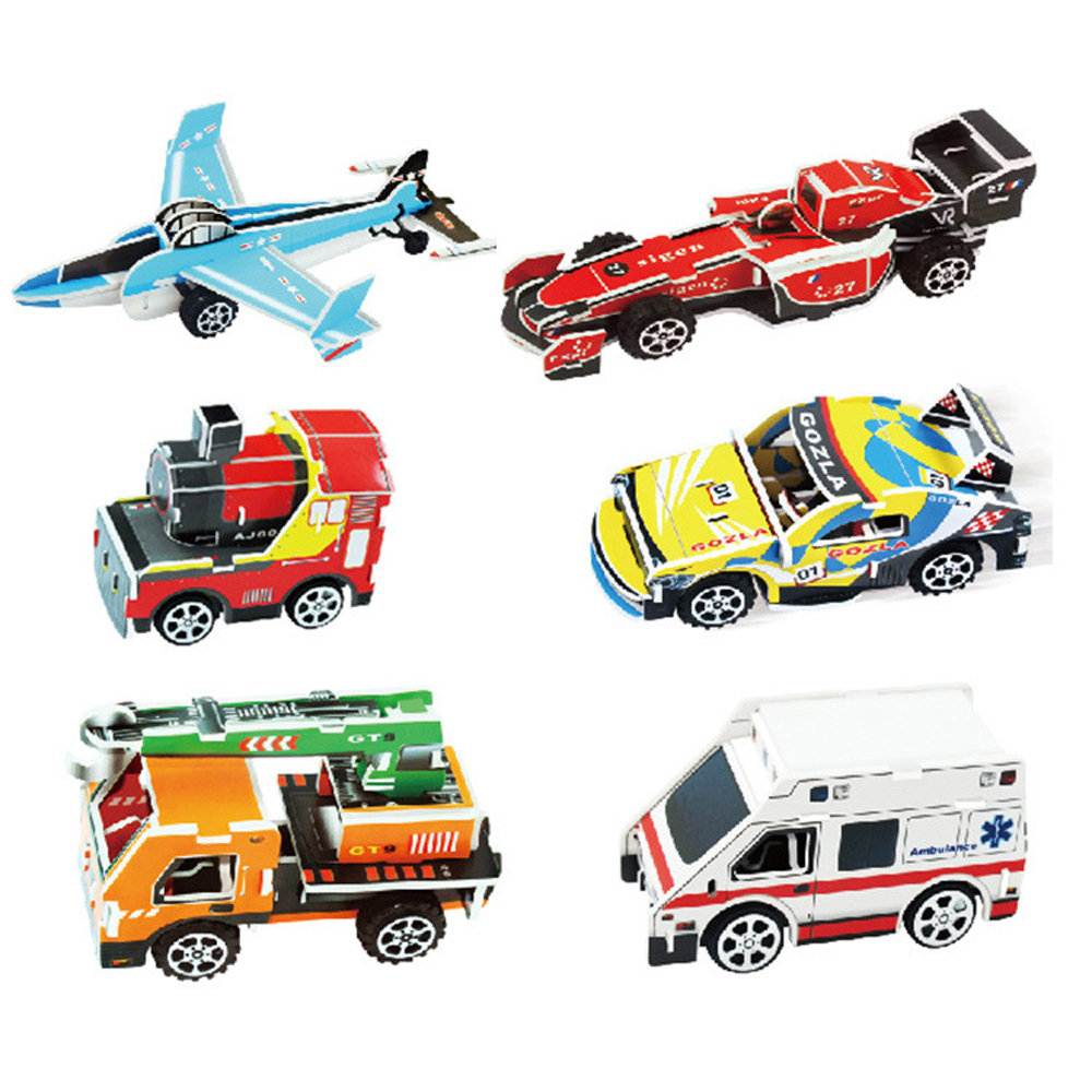 DIY 3D Stereo Puzzle Paper Assembly Model Random Style Pull Back Car Toys For Children Handmade Educational Intellectual Toys