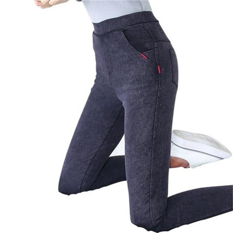 Femmes Leggings Taille Haute Limited Fitness 2018 Nouveau Printemps Denim Imitation Cowboy Porter Des Pantalons Pieds Crayon Mince Section Sauvage