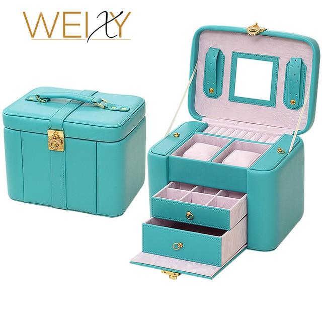 5 Colors Luxurious PU leather large jewelry box organizer Casket